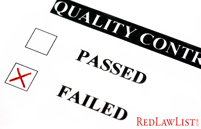 image of a failed quality control test