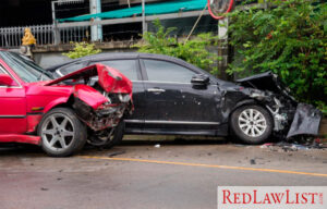 two cars in the aftermath of a collision
